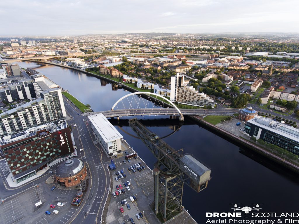 Drone Photograph of The Clyde, Glasgow. Glasgow drone services