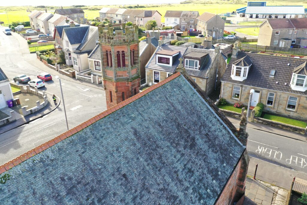 Aerial building inspection of Church