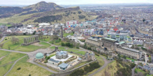 Edinburgh Drone photograph - Calton Hill and Arthurs seat