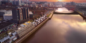 Drone Scotland - Drone Services Glasgow, Aerial photograph over the Clyde at Sunrise