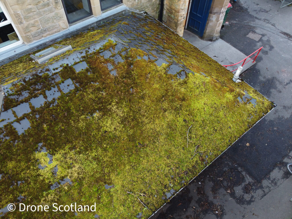 Drone building inspection of a flat roof